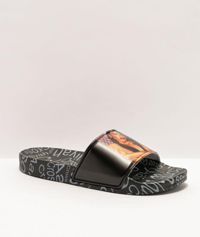 Cross Colours x Aaliyah Hug Black Slide Sandals