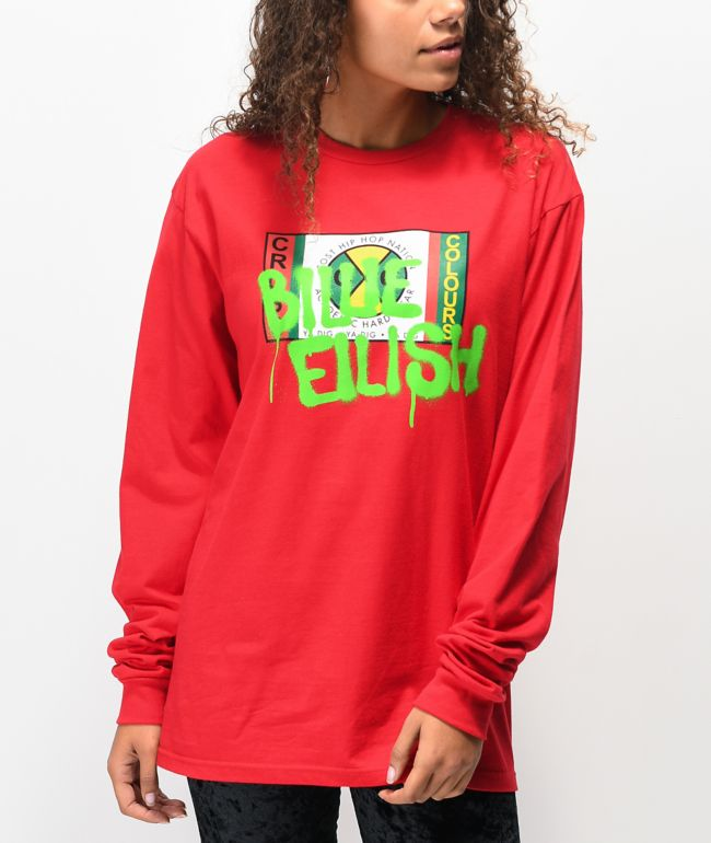 Cross Colours X Billie Eilish Graffiti Red Long Sleeve T Shirt Zumiez