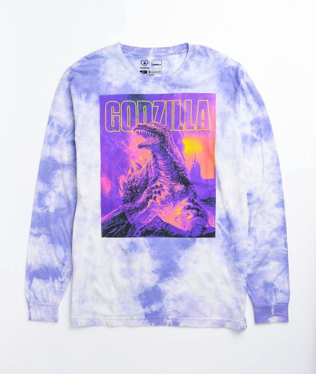 Crunchyroll x Godzilla Cataclysm Purple Tie Dye Long Sleeve T-Shirt