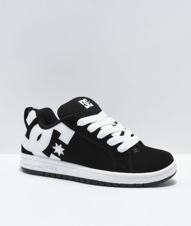 DC Court Graffik Black, Black & White Skate Shoes