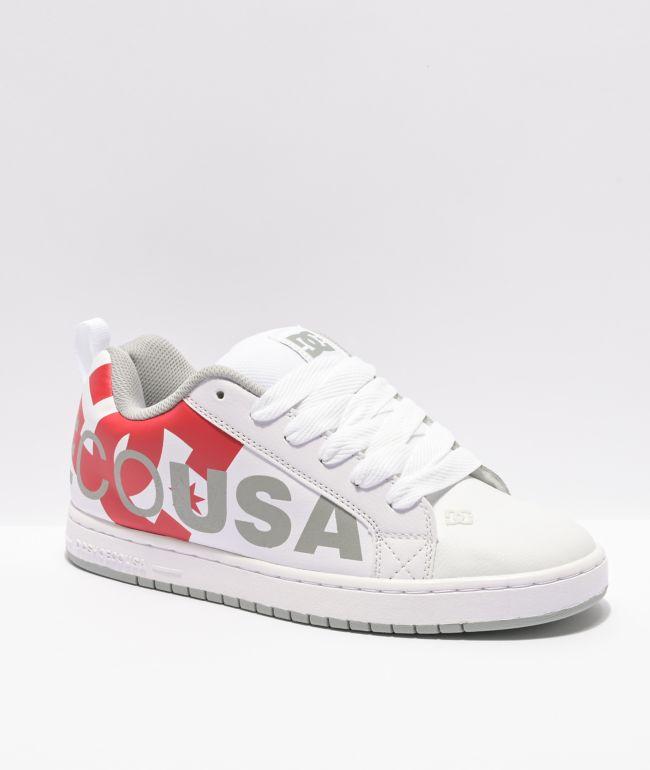 DC Court Graffik SE zapatos de skate en blanco, gris y rojo