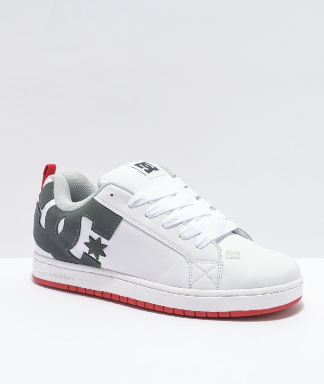 DC Court Graffik White, Grey & Red Skate Shoes