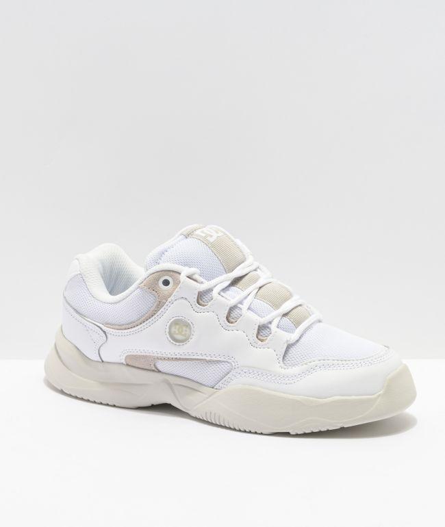 DC Decel White Leather Skate Shoes   Zumiez