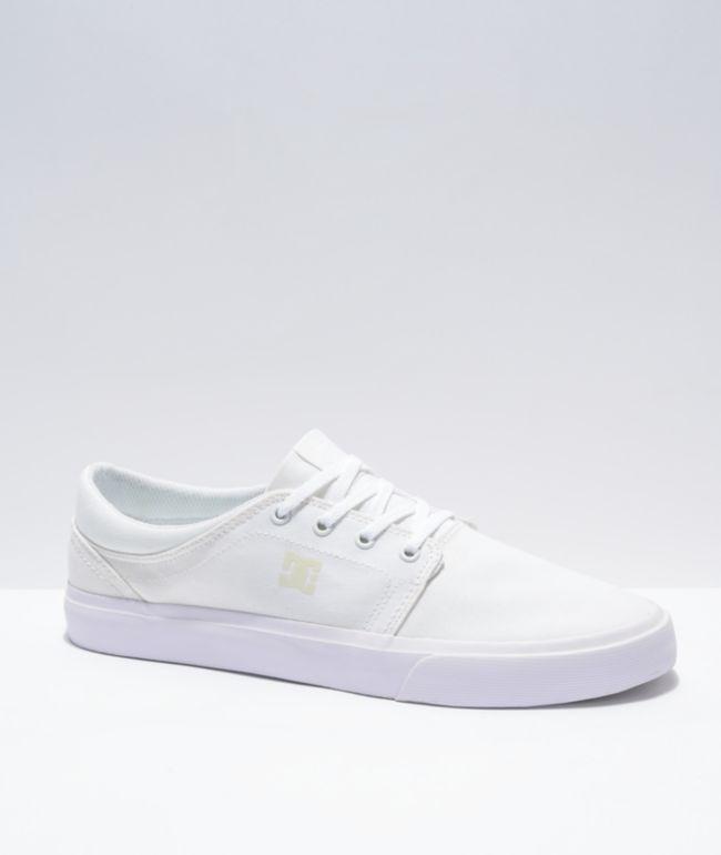 DC Trase TX White Skate Shoes
