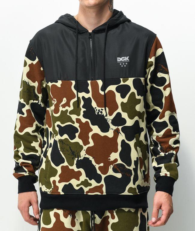 DGK Allied Camo & Black Half Zip Hoodie