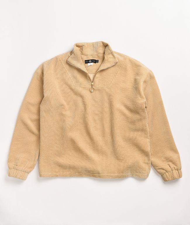 Daisy Street Quarter Zip Corduroy Cream Mock Neck Sweatshirt
