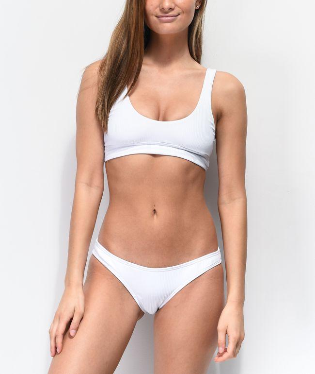 Damsel Blanco Flat Ribbed Cheeky Bikini Bottom