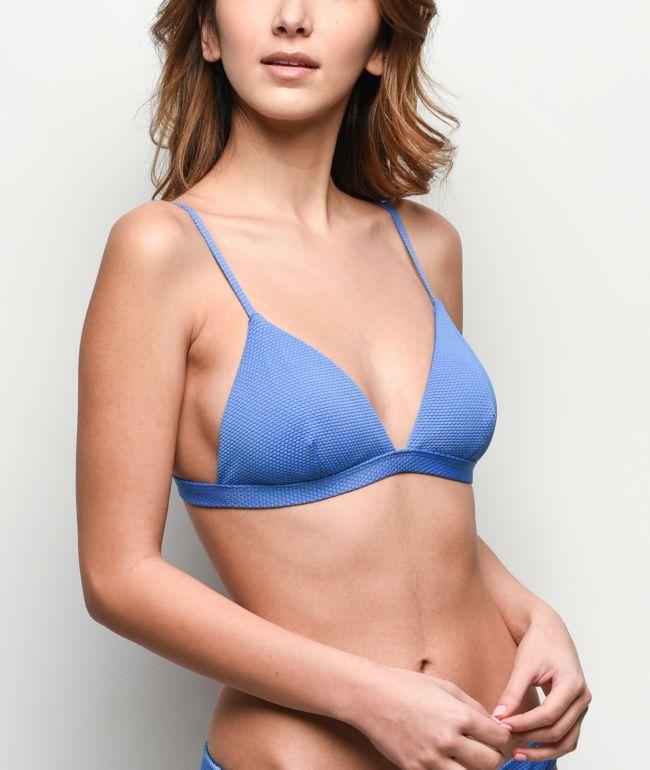 Damsel Forget Me Not Blue Pique Triangle Bikini Top