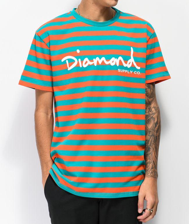 Diamond Supply Co. OG Script Orange & Turquoise Striped T-Shirt