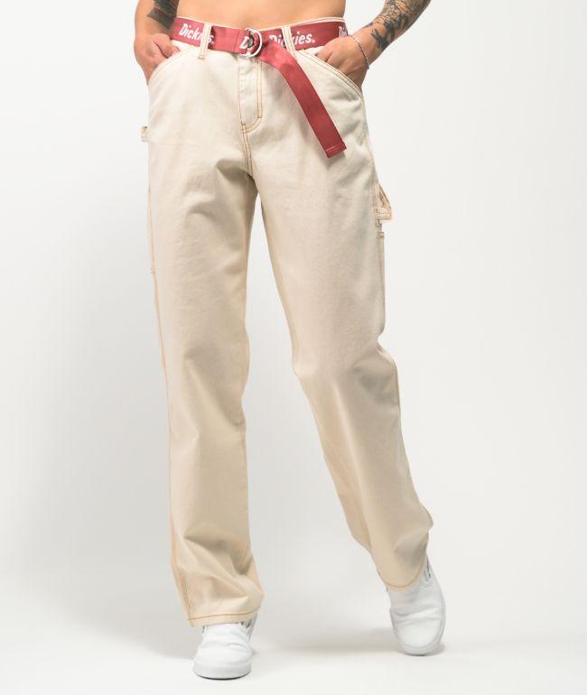 Dickies Natural Belted Carpenter Pants
