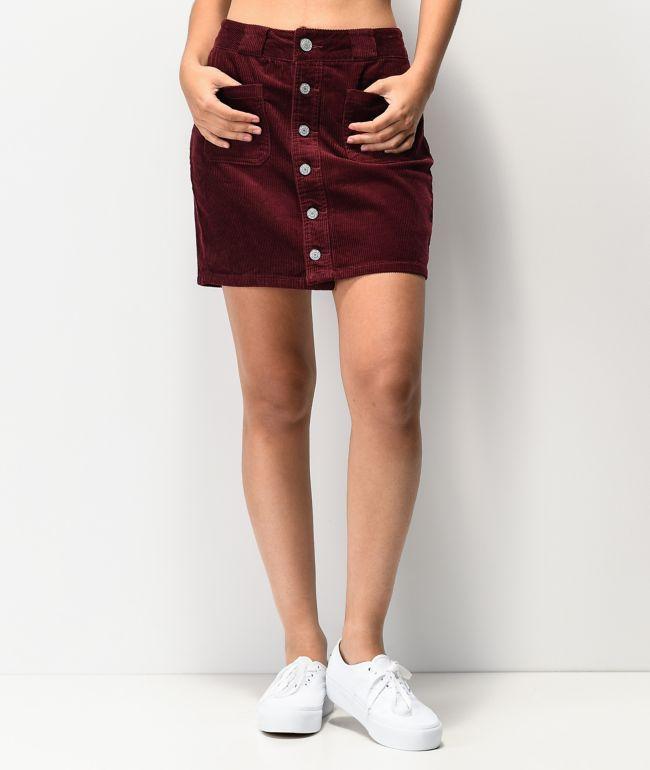 Dickies Patch Pocket Burgundy Corduroy Skirt