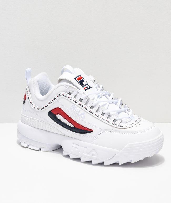 Disruptor II Logo Taping zapatos blancos de FILA