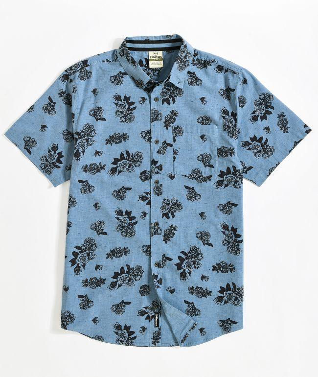 Dravus Alvin Floral Navy Short Sleeve Button Up Shirt