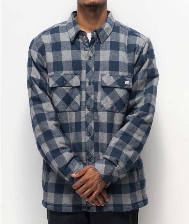Dravus camisa de franela y sherpa azul y gris
