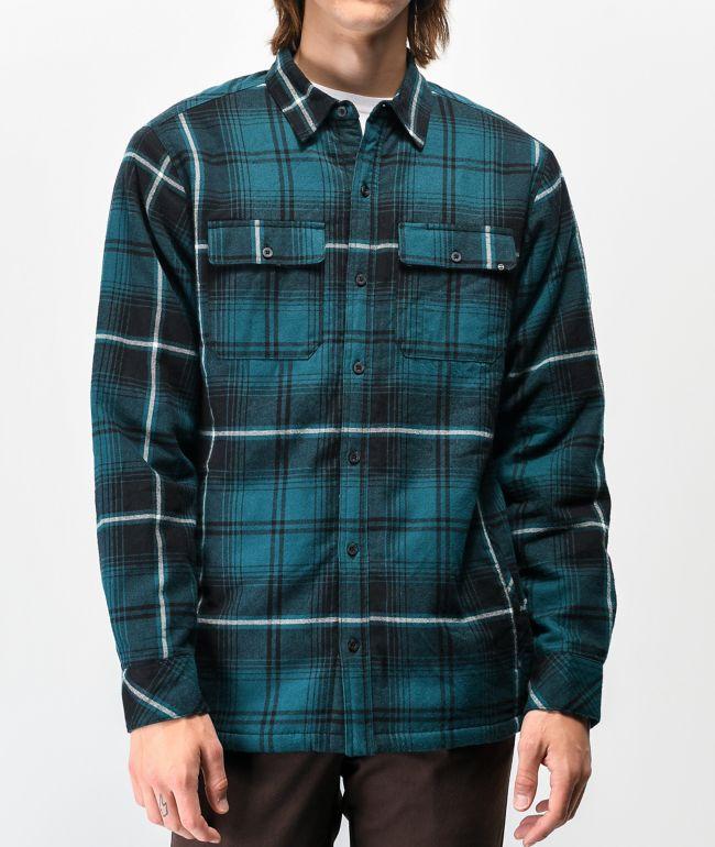 Dravus camisa de franela y sherpa verde azulado y negra