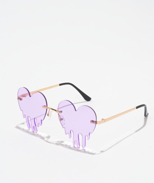 Dripping Hearts Purple & Gold Sunglasses