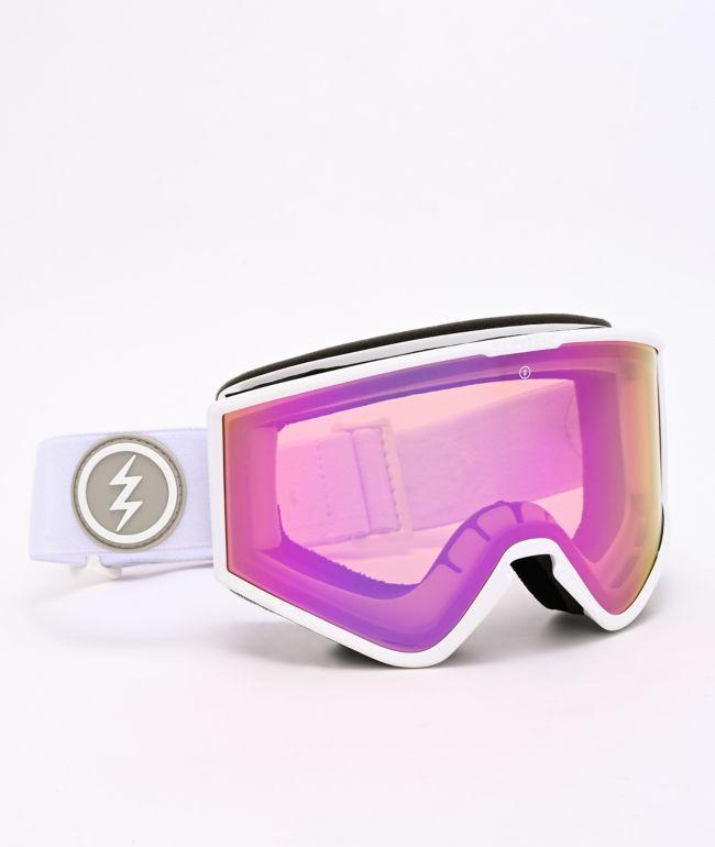 Electric Kleveland Matte White & Pink Chrome Snowboard Goggles