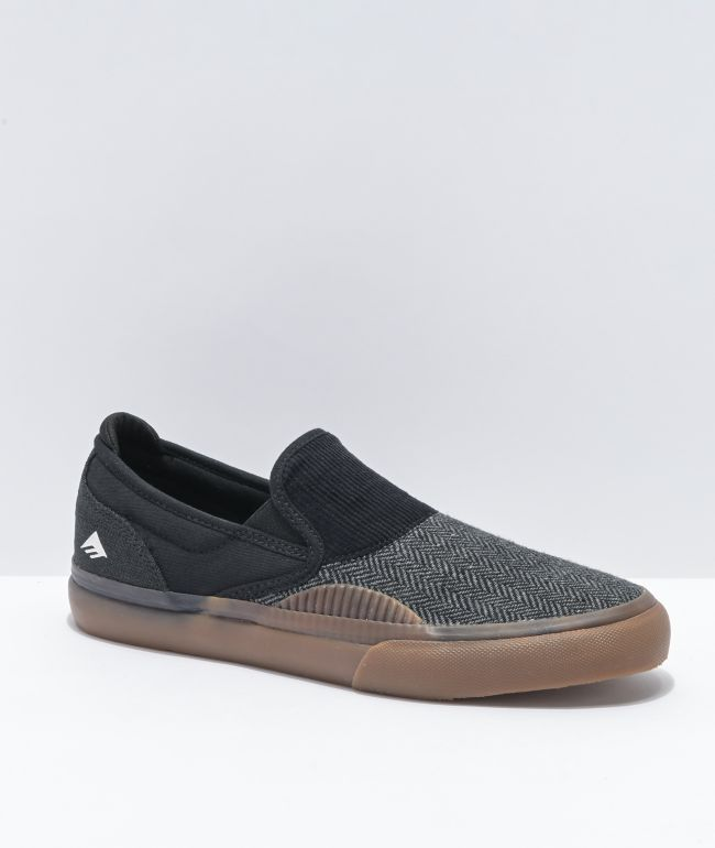 Emerica Wino G6 Black, Grey, & Gum Slip-On Skate Shoes