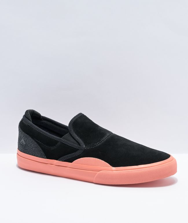 Emerica Wino G6 Black & Pink Slip-On Skate Shoes