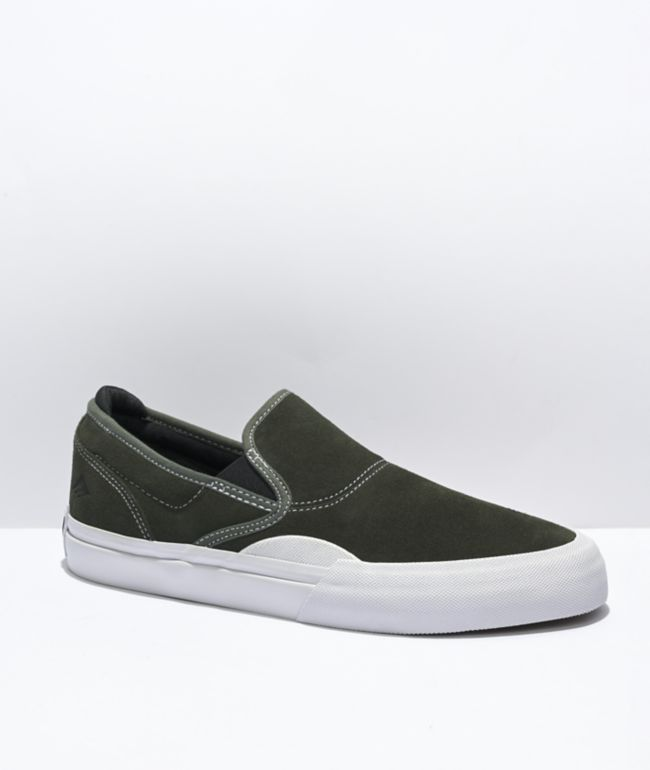Emerica Wino G6 Olive & White Slip-On Skate Shoes