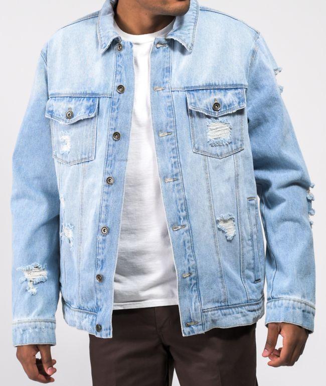 Empyre Aced Shredded Light Blue Denim Jacket