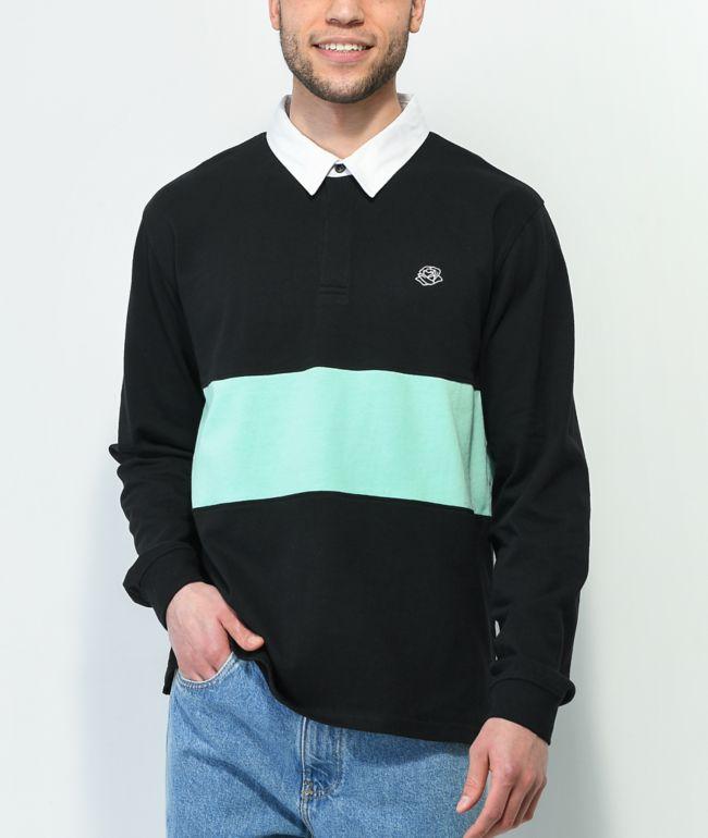 Empyre Blocked Black & Blue Rose Long Sleeve Polo Shirt
