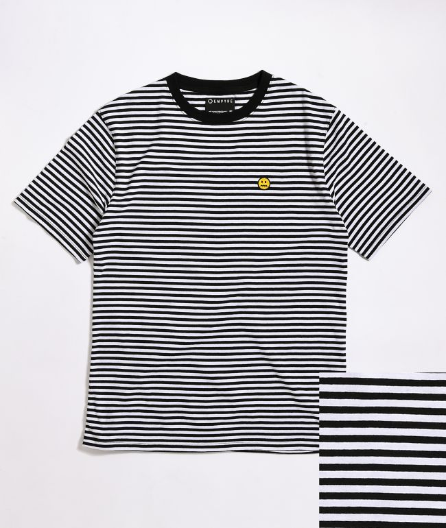 Empyre Dang It Black & White Striped Knit T-Shirt