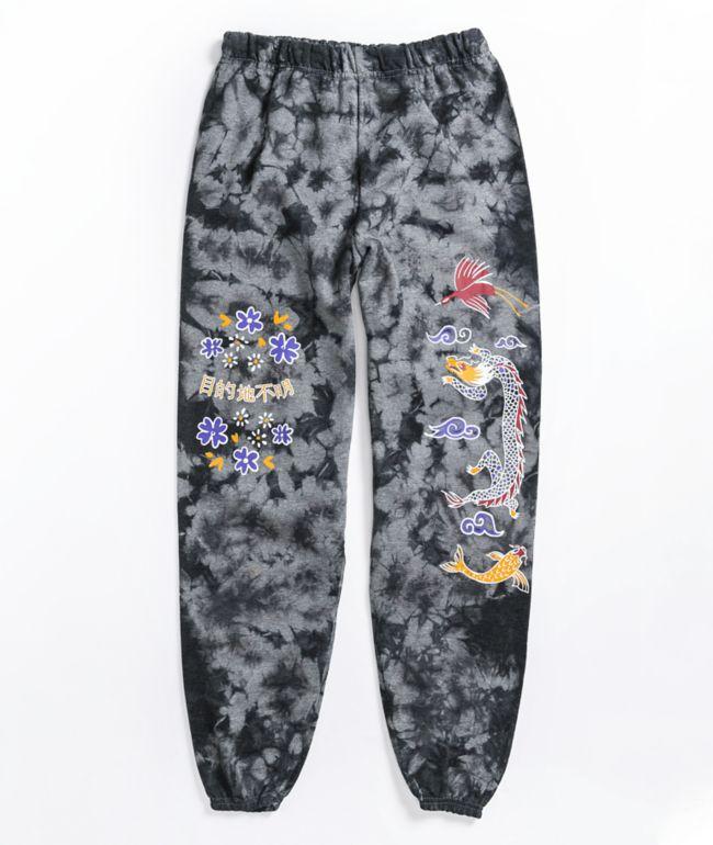 Empyre Dragons pantalones de sudadera con tinte de corbata negro y gris