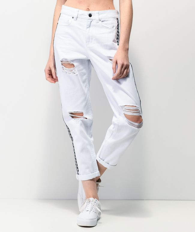 Empyre Eileen Checkerboard Stripe White Mom Jeans