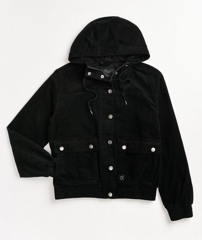 Empyre Emilia Corduroy Caviar Black Hooded Jacket