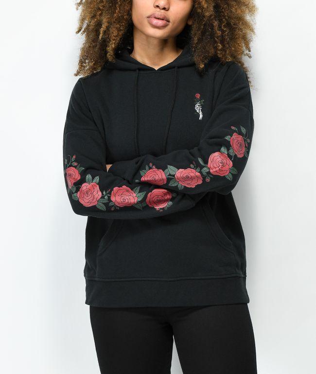 Empyre Fredia Rose Sleeve sudadera con capucha negra