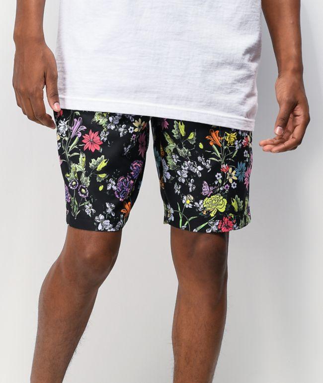 Empyre Grom shorts de baño negros y florales