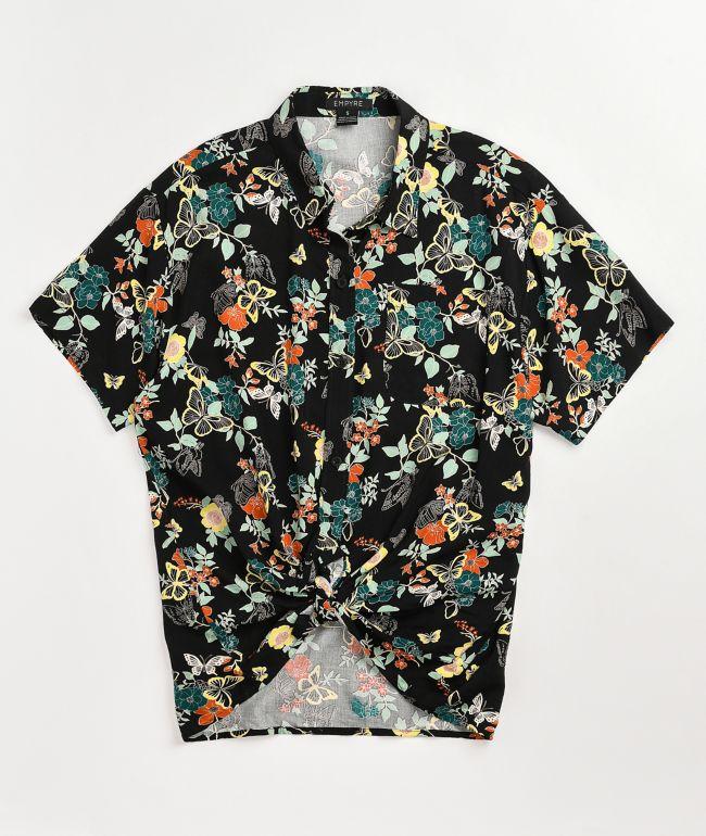 Empyre Hilo Print Tie Front Short Sleeve Button Up Shirt