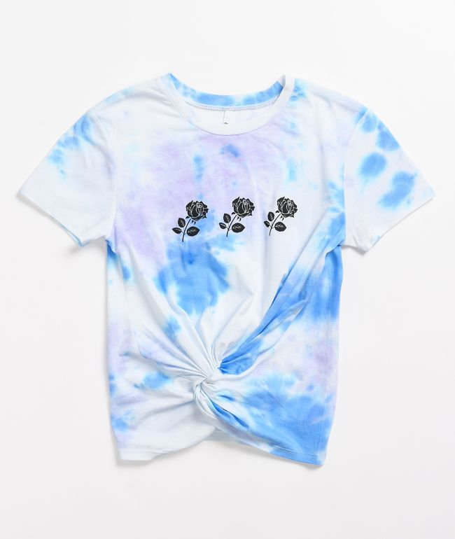 Empyre Ilaria Roses Blue Tie-Dye Knotted T-Shirt