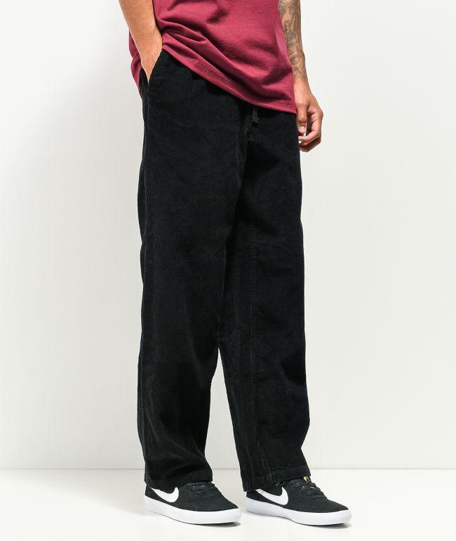 Empyre Johnny Black Elastic Waist Corduroy Skate Pants