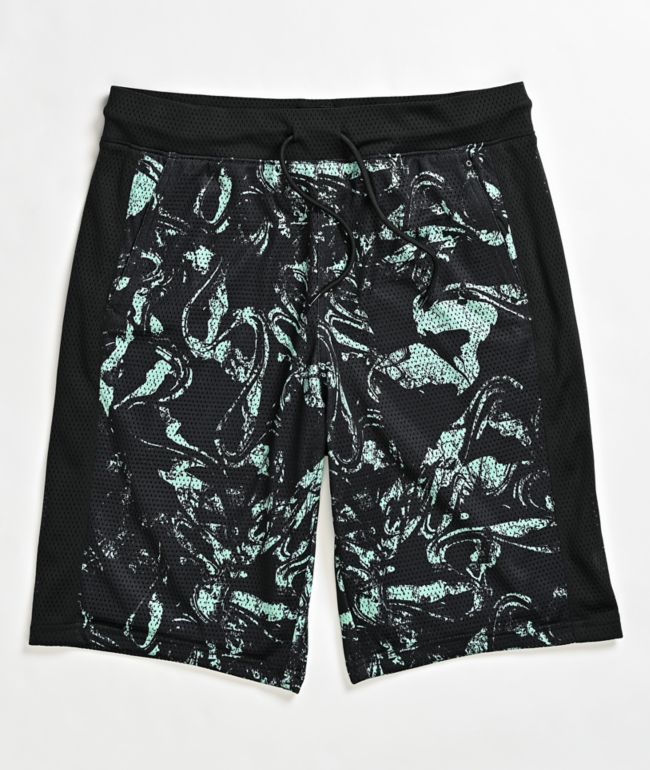 Empyre Juice Black & Mint Elastic Waist Board Shorts