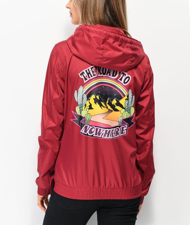 Empyre Keana Road To Nowhere Maroon Windbreaker Jacket
