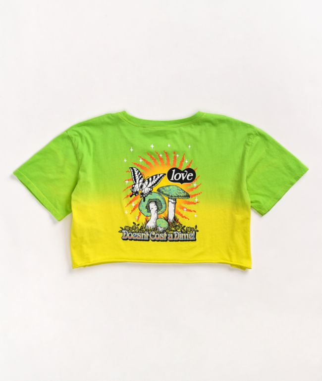 Empyre Kipsy Love Doesn't Cost Yellow & Green Ombre Crop T-Shirt