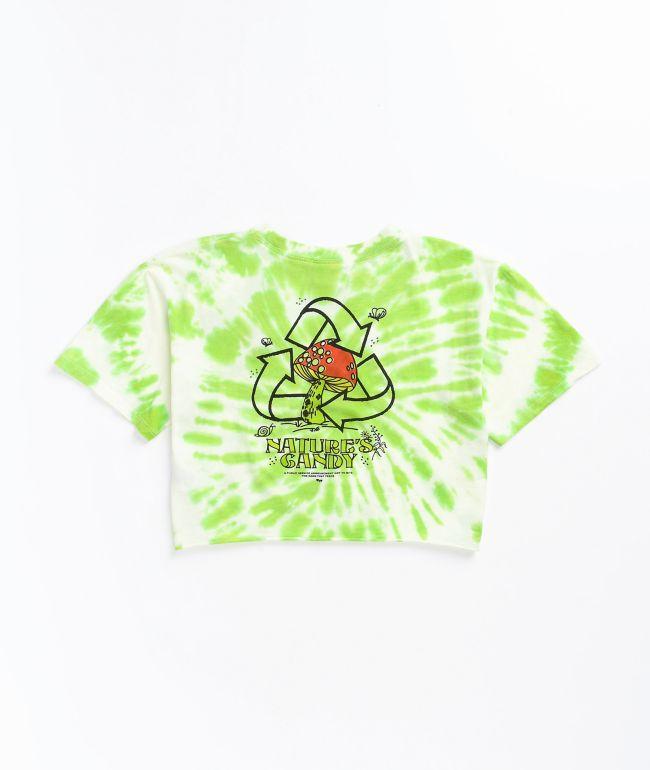 Empyre Kipsy Nature's Candy Green & White Tie Dye Crop T-Shirt