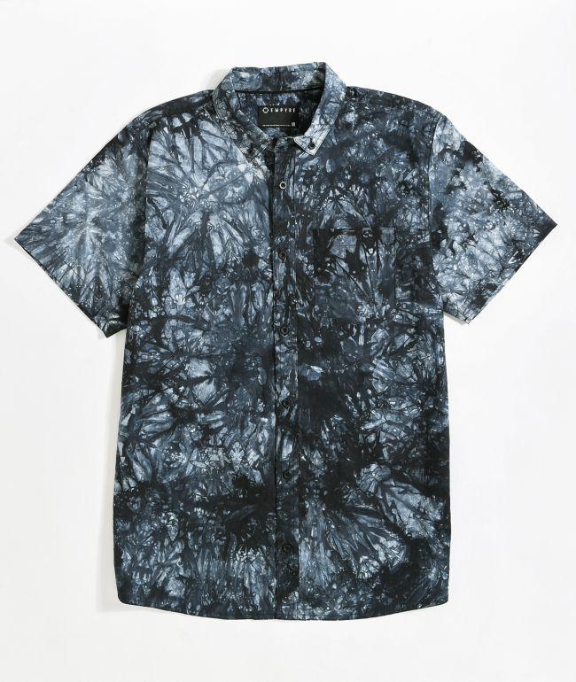 Empyre Mellow Black Tie Dye Short Sleeve Button Up Shirt