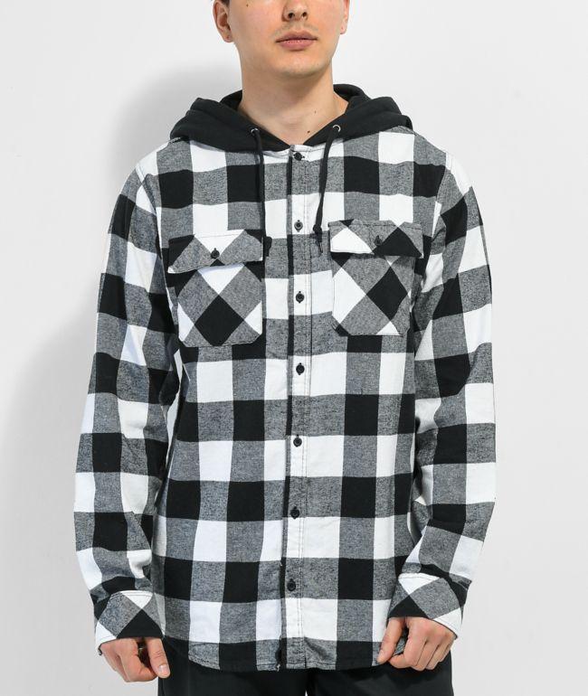 Empyre Prime Black & White Hooded Flannel Shirt