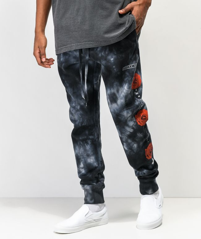 Empyre Rose Hazy Black Tie Dye Jogger Sweatpants