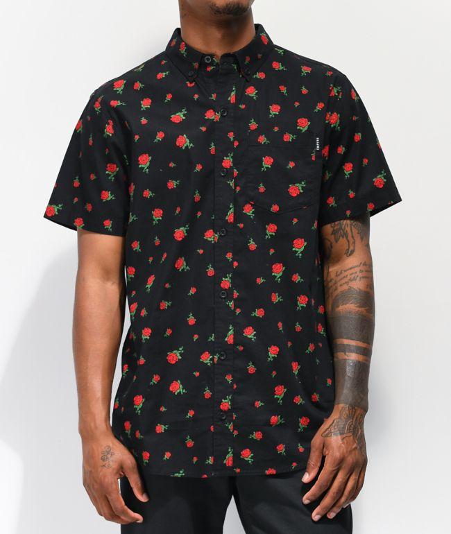 Empyre Rose Thorns camisa negra de manga corta tejida
