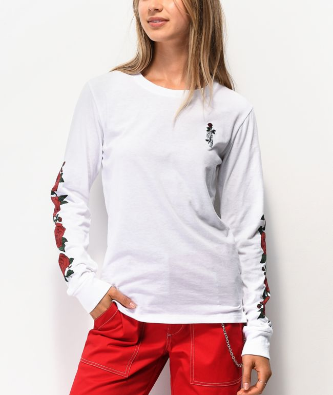 Empyre Rubino Roses White Long Sleeve T-Shirt