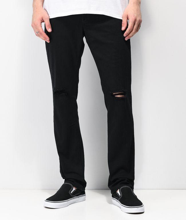 Empyre Skeletor Knee Slit jeans skinny en negro