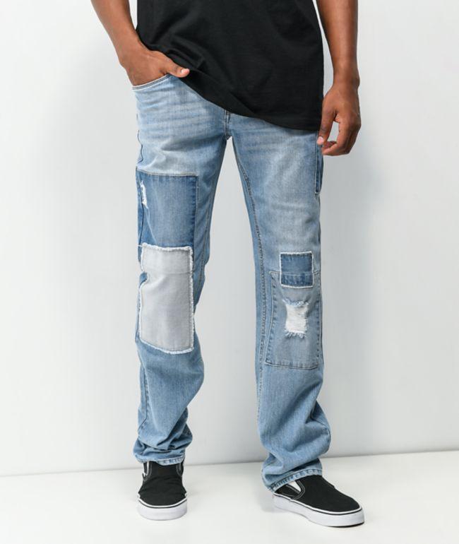 Empyre Sledgehammer Light Blue Patched Denim Jeans