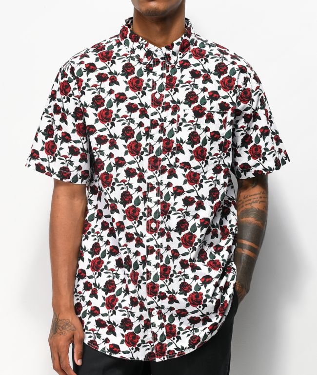 Empyre Tate Roses White Short Sleeve Button Up Shirt