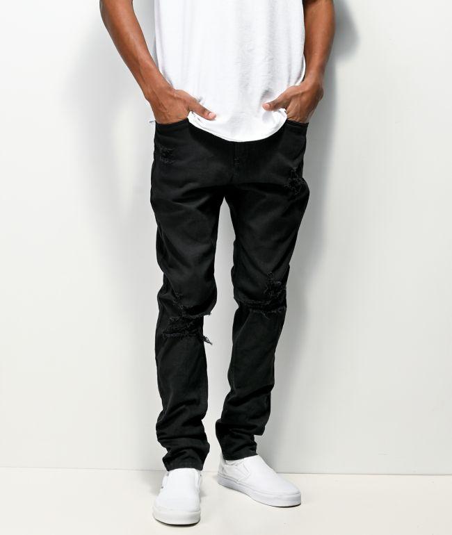 Empyre Verge Destroyed Black Tapered Skinny Jeans
