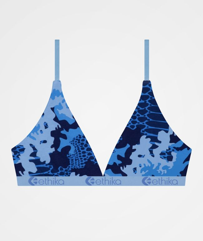 Ethika Croc Camo Blue Triangle Bralette