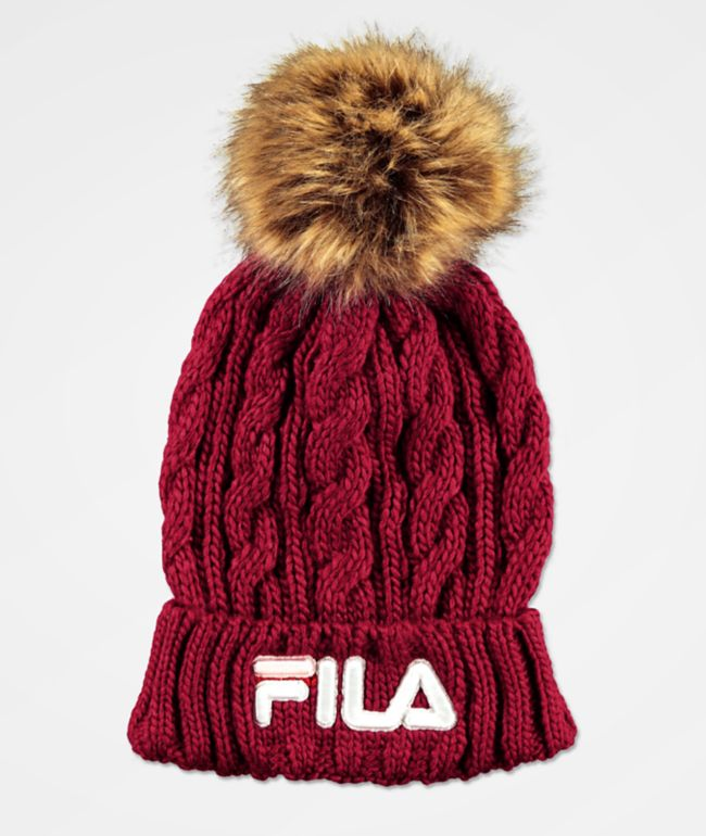 FILA Cable Knit Red Pom Beanie